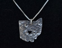 Ohio State Pendant With Cutout Heart